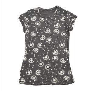 Lululemon Gray Logo Dandelion Floral Shirt RARE
