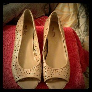 Tan small wedge heels