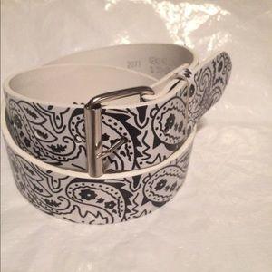 Brand New white bandanna style leather belt