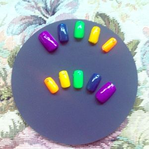 Accessories - Rainbow Colored Gem Acrylic Nails - MADE TO ORDER