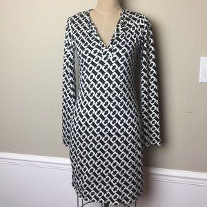 DVF split neck silk stretch knit dress