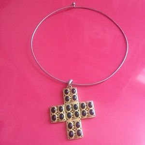 Kenneth Jay Lane Gold and Black Cross Choker