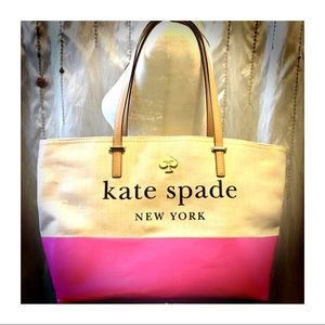 Lovely peaches & cream Kate Spade canvas tote 🦋