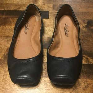 Lucky Brand, Black, Leather Ballet Flats