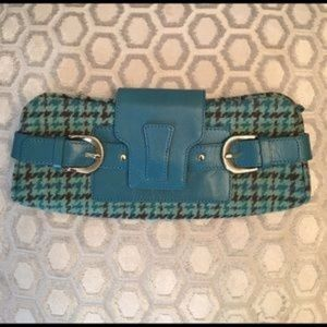 BR Leather Aqua & Brown Herringbone Clutch Purse