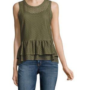 A.N.A sleeveless lace peplum blouse