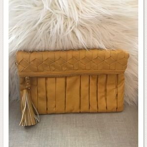 Golden Patterned Faux Leather Clutch