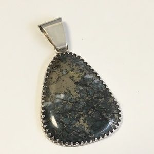 Large Sterling Silver Stone Pendant Statement