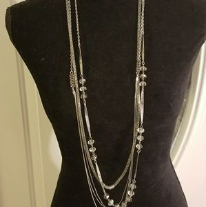 Multi-strand Silvertone Necklace
