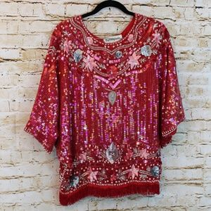 Vintage Pam Imports Silk Sequin and Beaded top