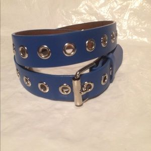 Blue leather belt single grommets