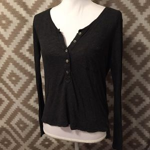 Aerie Gray Slouchy Long Sleeve Henley Top!