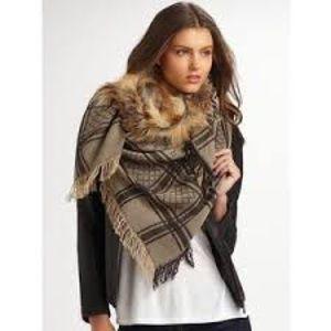 GUCCI Wool Silk Fox Fur Monogram Shawl Scarf Brown
