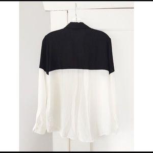 Color block button down blouse