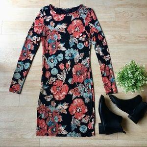 Topshop Winter Floral Long Sleeved Midi Dress 8