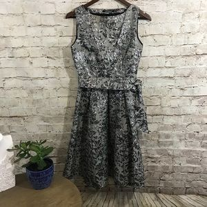 Atmosphere grey  silver floral embroidered dress