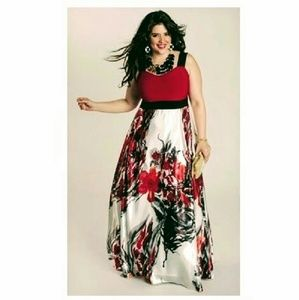 Plus size Gown Red Black Floral 3X