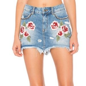Free People denim skirt with embroidery