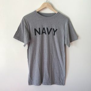 vintage | super soft gray basic NAVY t-shirt