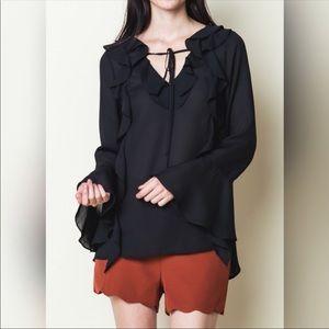 Ruffled chiffon blouse