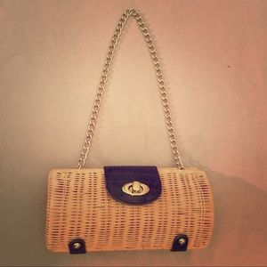 Wicker/Rattan Clutch with brown accent, gold chain