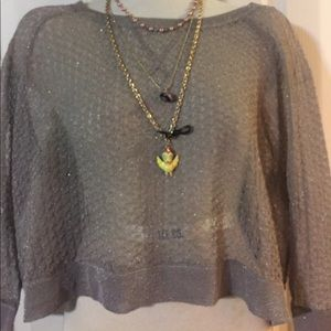 Betsey Johnson Pewter Delicate Knit Crop Sweater