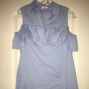 Soprano cold shoulder striped shirt dress