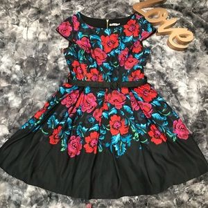 Eliza J Belted Floral Print Fit & Flare Dress