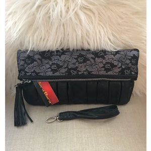 Black Faux Leather and Lace Clutch