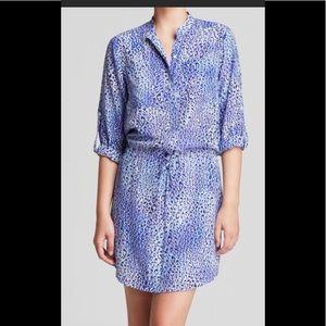Rebecca Taylor Blue Leopard print shirt dress sz 6