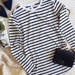 Striped long sleeve tunic tee