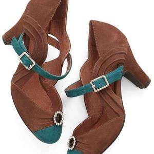 Size 9 Brown/Teal  Heels