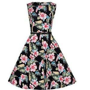 Vintage Style Swing Dress Black Floral size 8