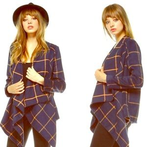 Plaid Woven Draped Front Jacket
