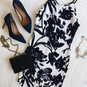Navy and cream floral bodycon dress