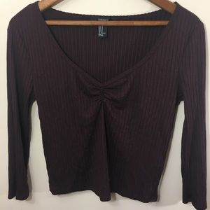 Burgundy 3/4 sleeve crop top