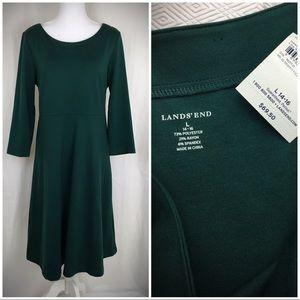 NWT Lands' End Green Long Sleeve Jersey Dress