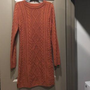 Burnt Orange Cable Knit dress