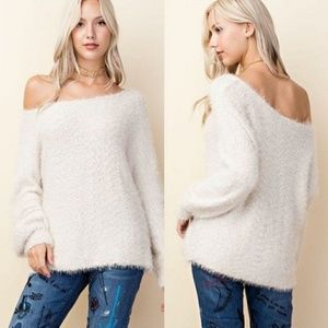 COMING SOON! Ivory Fuzzy Knit Oversized Sweater