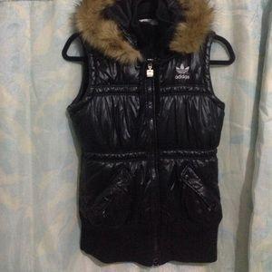 Super Cute Women's ADIDAS Vest w/ Fur Lined Hood~S
