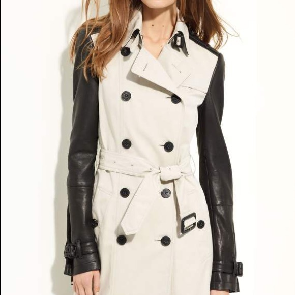 best selection of lower price with highly praised Burberry Trench with Leather Sleeves - Size 2