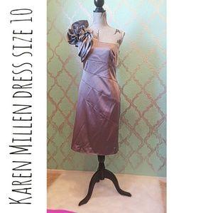 KAREN MILLEN Silver Metallic Dress  Size 14