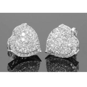 0.75 carat 10k white gold diamond heart earrings