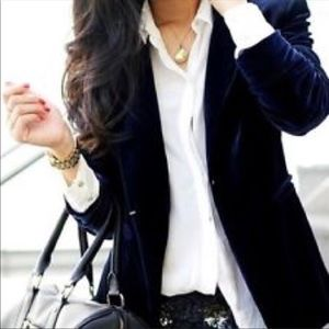 J. Crew Velvet Midnight Blue Blazer