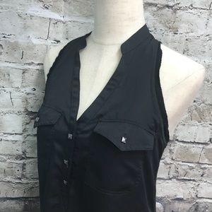 Rock & Republic Black Sleeveless Shirt Small