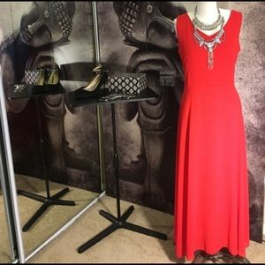 Red Chiffon Maxi Dress with Waist Tie and Low Back