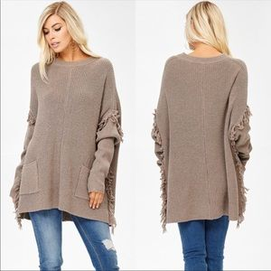 Long body Oversized fringe sweater