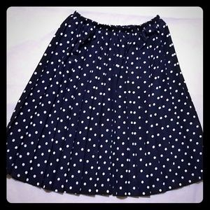 Vintage Pleated Blue Polka Dot Skirt (fits XS-S)