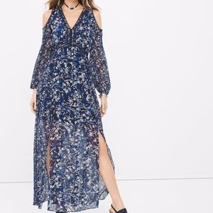 Long-sleeve Cold-shoulder Floral Maxi Dress