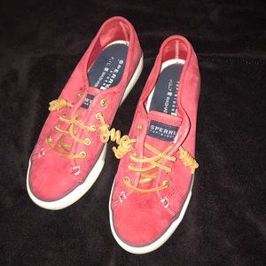 Sperry Seacoast Canvas Sneaker Red- Size 7